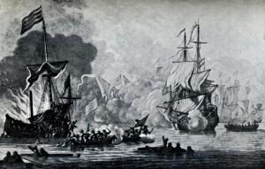 Lucha entre la nave Mary Rose y los piratas berberiscos